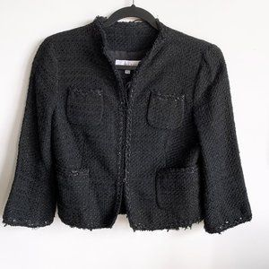 Zara woman tweed raw edge blazer Sz6